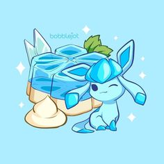 Adorable glaceon drawing! I love the ice blue dessert in the background 😍 Glaceon is definitely my favorite eeveelution in Pokemon 💙