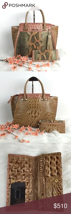⚜️⚜️STUNNING BRAHMIN BAG!!⚜️⚜️ Well I don't even know what to say about this one. To me, it's probably one of the most beautiful bags I've ever seen. And that's no exaggeration. It is stunning. This is a new bag and new wallet in the style Priscilla and the color is called sandshell pachanga. The brown color is called tobacco. I actually bought one of these for myself because I love it so much. It comes with the wallet, shoulder strap, papers and dust bag. Brahmin Bags Satchels