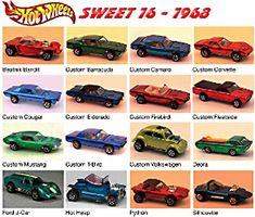 "The Original Hot Wheels ""Sweet 16"" which were the only models released in the first year - 1968. Description from pinterest.com. I searched for this on bing.com/images"