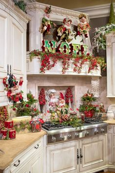 Small Kitchen Christmas Decoration Christmas Time Is Here Christmas Mantels, Christmas Home, Christmas Crafts, Christmas Ideas, Chicago Christmas, Elf Christmas Tree, Christmas Fireplace, Christmas Villages, Silver Christmas