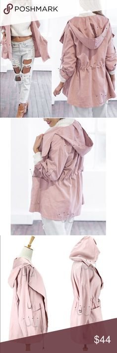 Women's windbreaker trench winter jacket Style: Fashion, Cool Material: Cotton Blend and Polyester Color: Pink Sleeve Style: Long Sleeve Collar: Lapel Collar Fastening: Waist drawstring Coat Length: Hip Length Occasion: Casual, Party Season: Spring, Autumn, Winter Size:  S/M/L/XL Jackets & Coats Trench Coats