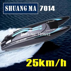 SHUANG MA DH7014 High Speed 2.4G 25KM/H Racing RC Boat Electric Remote Controlled Speedboat with Super water-cooled motor   Newest remote control toys shop