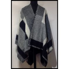 Grey/Black and White Checked Woolen Cape Sale Items, Casual Wear, Cape, Black And White, Grey, Sweaters, How To Wear, Stuff To Buy, Collection