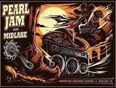 Pearl Jam - Dallas - 15/11/2013 - Art by Henry Dayne - Lightning Bolt Tour 2013