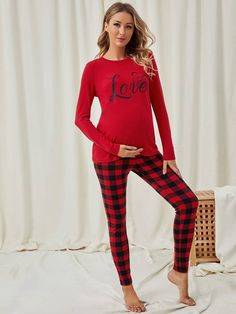 Maternity Letter Print Top With Gingham Pant Pajama Set