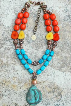 Luna: Bold Turquoise Howlite, Orange Resin, Yellow and Orange Tagua Nut and Exotic Copper Terra Cotta Moon Pendant Necklace $300