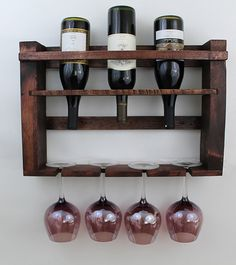 Rustic Wine Bottle Holder, Pallet Wood Wine Bottle Wall Rack, Wooden Wine Rack…