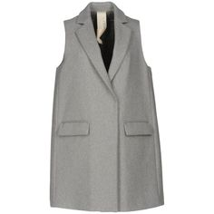 Annie P. Overcoat (£140) ❤ liked on Polyvore featuring outerwear, coats, light grey, over coat, single-breasted trench coats, sleeveless overcoat, sleeveless coats and lapel coats
