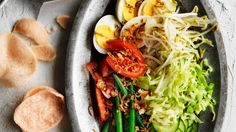 Adam Liaw's delicious gado gado salad with eggs and peanut dressing. Healthy Cooking, Cooking Recipes, Asian Cooking, Speedy Dinners, Weekly Meal Planner, Most Popular Recipes, Best Dishes, Side Recipes, Meals For The Week