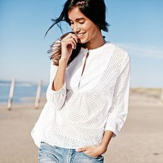 Broderie Cotton Blouse - White