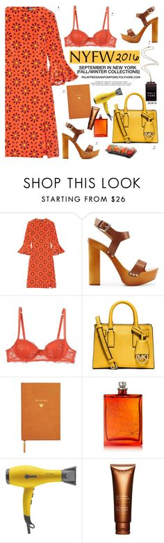 """""""What to Pack: NYFW / Holly Fulton - Irina Printed Ruffle-trimmed Silk Crepe Dress"""" by palmtreesandpompoms ❤ liked on Polyvore featuring Holly Fulton, Dsquared2, Emporio Armani, MICHAEL Michael Kors, Sloane Stationery, The Beautiful Mind Series, Drybar, Clarins, Kate Spade and NYFW"""