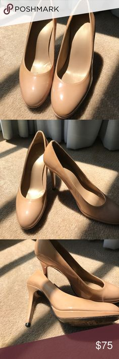 Stuart Weiztman patent nude 4 inch heels SPECIAL THURSDAY PRICE  ONLY TODAY!!!! So so sad - can't wear heels anymore ! These are drop dead gorgeous worn twice classic and comfortable how often do you get that in High heel. Hate to see these go but they're just sitting in my closet Shoes Heels