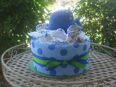 TOWEL BABY SHOWER CAKES | Whale Bath Towel Diaper Cake Blue Polka Dot by persnickitude