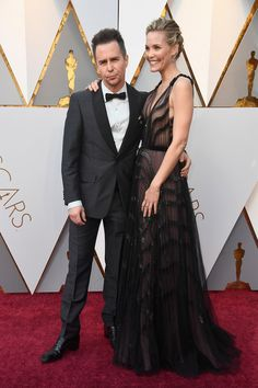 Sam Rockwell (L) and Leslie Bibb attend the 90th Annual Academy Awards at Hollywood & Highland Center on March 4, 2018 in Hollywood, California.