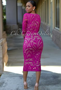 Chic Couture Online - Vivica Deep Fuchsia Lace Nude Low Neckline Midi Dress, (http://www.chiccoutureonline.com/vivica-deep-fuchsia-lace-nude-low-neckline-midi-dress/)