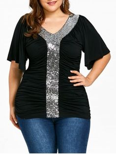 Plus Size V Neck Short Sleeve Sequins Patchwork Pleated T-Shirt Pullover Tops Big Girl Fashion, Curvy Fashion, Plus Size Fashion, Style Fashion, Fashion Women, Plus Size Dresses, Plus Size Outfits, Plus Size Kleidung, Plus Size T Shirts