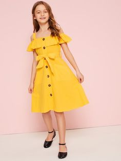 To find out about the Girls Cold Shoulder Ruffle Trim Belted Shirt Dress at SHEIN, part of our latest Girls Dresses ready to shop online today! Girls Dresses Online, Dresses Kids Girl, Cute Dresses, Kids Outfits, Cute Outfits, Dress Girl, Girls Fashion Clothes, Kids Fashion, Fashion Dresses