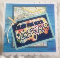 Tattered Lace camper van and recycled map card