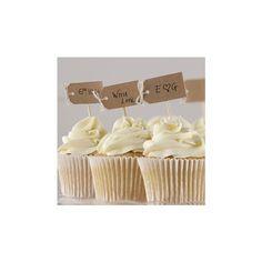 Divertenti bastoni da cupcake colore marrone in stile vintage.   Potete personalizzarli con il testo che desiderate e stupire i vostri ospiti con  questi dettagli unici per le vostre nozze.    Confezione da 12 Disponibile anche in avorio . Ogni bastone è di circa 6,5 centimetri  alto .