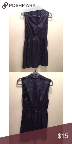 Blue and Gold Polka Dot Collared Dress Comes with skinny belt- gently used. Is size large but fits me, a medium, with cup size 36C. BeBop Dresses