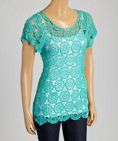 Loving this Aqua Crochet Cap-Sleeve Scoop Neck Top on #zulily! #zulilyfinds