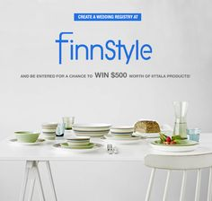 Create a registry at FinnStyle for a chance to win $500 worth of iittala products!