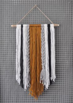Modern Yarn Wall Hanging 2019 A modern spin on yarn that is bound to be a conversation piece. Each item is The post Modern Yarn Wall Hanging 2019 appeared first on Yarn ideas. Yarn Wall Art, Yarn Wall Hanging, Diy Wall Art, Diy Wall Decor, Diy Art, Wall Hangings, Stick Wall Art, Handmade Wall Hanging, Art Yarn