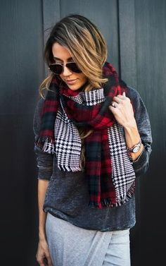 Ily Couture Plaid Blanket Scarves - 2 colors