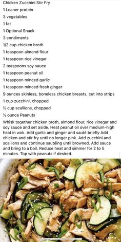 Asian Recipes, New Recipes, Cooking Recipes, Favorite Recipes, Zucchini Stir Fry, Chicken Zucchini, Healthy Meals, Healthy Recipes, Lean And Green Meals