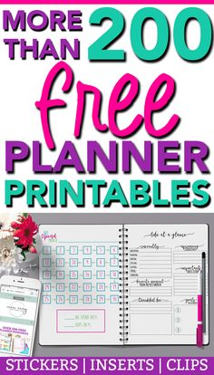 More than 200 FREE Planner printables available to download all on Mom Envy. There's everything from free planner stickers (#momlife stickers, budgeting stickers, etc.), to planner inserts (currently page, meal planning, weekly to do lists, etc), bullet journal style pages, and free planner clip printables. Plus, they can all be printed to go into any size planner. #planneraddict #plannerlove #happyplanner