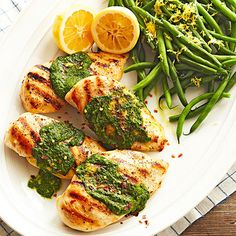 Chimichurri, a bright sauce made from parsley, garlic, and red pepper, ties the grilled chicken in this dinner recipe to the lemon-zest green beans on the side. The best part of the chicken and vegetables recipe? It takes only about 30 minutes to put together.