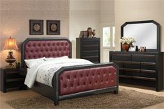 Catrona Burgundy Faux-Leather Queen Platform Bed
