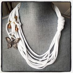 White Butterfly Pendant Necklace by My Sassy Scarfs on Etsy, $9.50
