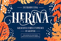 Ad: Herina Font + Extra by Graptail on Herina is an uppercase serif font with charming curves of each letter form. This font is inspired by the letters of the past that are very Butterfly Invitations, Font Maker, Commercial Use Fonts, Free Fonts Download, Font Free, Letter Form, Character Map, Beautiful Fonts, Pretty Fonts