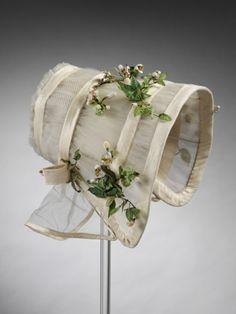 Cream colored wedding bonnet. 1845. The Victoria & Albert Museum.