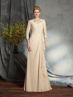 d1a656c5260 Champagne Mother of the Bride Dresses with Sleeves