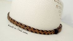 SOLID COPPER STAMPED 13 CONCHO Handmade BRAIDED Hatband HAT BAND Black Deer
