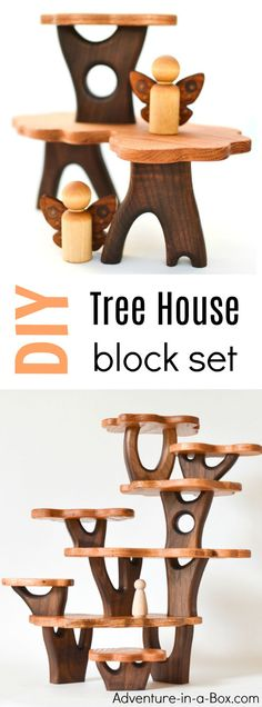 These DIY tree house blocks open new opportunities for block play, allowing kids to create natural-looking constructions and multi-levelled tree houses for fairies and forest creatures to settle in. Great for Waldorf environment and any nature lover! How To Make Trees, Fairy Tree Houses, Toy Trees, Do It Yourself Organization, Block Play, Wood Toys, Wood Kids Toys, Wooden Blocks Toys, Kids Wood