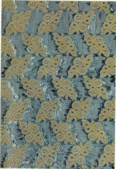 16th century Blue Silk (portion), showing double-knot motifs in gold Museo Civico, Turin image from A Treasury of Great Italian Textiles, Antonio Santangelo, Harry N. Abrams Inc, New York