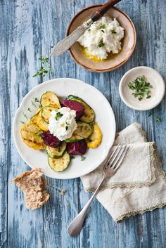 Down on Prairie Fruits Farm - Grilled summer vegetables with herbs and fresh goat cheese recipe   Return to Sunday Supper