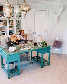 rustic office - turquoise desk with everything else white Rustic Office, Office Decor, Home Office, Office Ideas, Office Designs, Turquoise Furniture, Celebrity Houses, My Dream Home, Houses