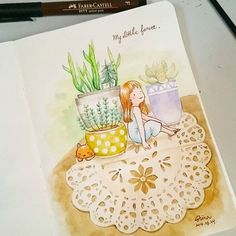 【nina820127】さんのInstagramをピンしています。 《105/08/24 我的小森林🌲 有一個屬於自己的小空間, 是一件很美好的事情。 -It's a pleasure to have a own space.  第一次嘗試畫多肉植物和布蕾絲 覺得蕾絲蠻難表現的 石蓮花倒是很容易畫~  #水彩 #畫畫 #手繪 #原創 #自創 #watercolor #art #drawing #illustrations #插畫 #日系 #手帳 #蕾絲 #森林 #forest #plants #盆栽 #cat #girl #貓 #女孩》