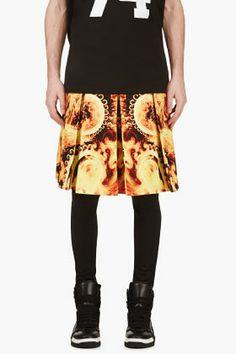 Givenchy Orange Flame Print A-line Skirt for men | SSENSE