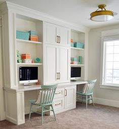 Loft area features a built in desk for two. Cabinet paint color is Benjamin Moore Simply White. Sita Montgomery Design Loft area features a built in desk for two. Cabinet paint color is Benjamin Moore Simply White. Office Built Ins, Built In Desk, Built In Cabinets, Basement Built Ins, Ikea Cabinets, Office Cabinets, Kids Office, Home Office Space, Home Office Design