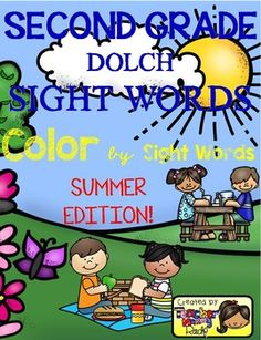 Create a book with this 13 Color by Sight Word pages using all the 46 Second Grade Dolch Sight Words.