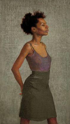 """Ellen Eagle """"Miss Leonard"""" 2010. Pastel on pumice board, 15 1/4 x 8 5/8 in."""