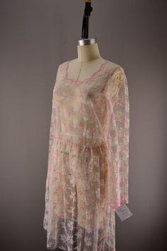Sheer lace dress  drop waist dress  Vintage flapper style dress size medium 36 bust