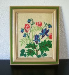 Vintage 1970's Blue and Pink Flowers Framed in Avocado Green Needlepoint Picture, $20.00