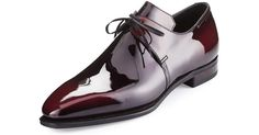 Corthay Arca Patent Leather Derby Shoe, Raspberry