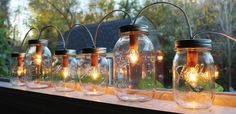 Mason Jar Lights  Banner Style  Modern Industrial by BootsNGus, $140.00